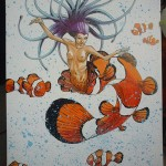 Woman poisson clown A3 carton plume : 130€