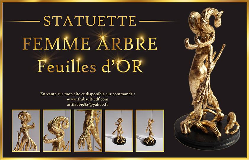 Femme Arbre résine recouverte de feuilles d'or = 199€